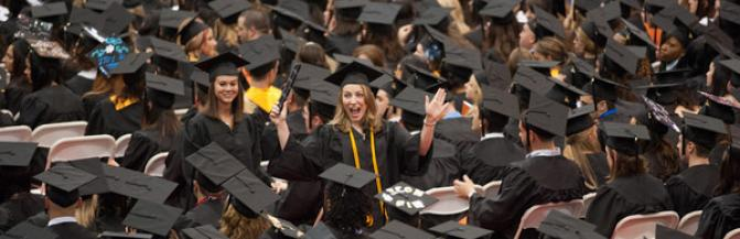 Crowds of graduates at commencement